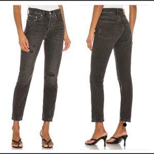 New! Levi's 501 Skinny Jeans in Black Stick